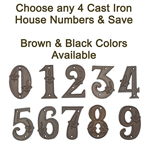 De Lis Fleur Embossed - Lulu Decor, 100% Cast Iron House Numbers, Black or Brown with Fleur De Lis (Any 4 Numbers, Bulk Discount)