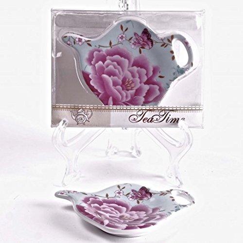 Jcook Home Decor Porcelain Tea Bag Holders in Gift Box - Peonies - Set of 2