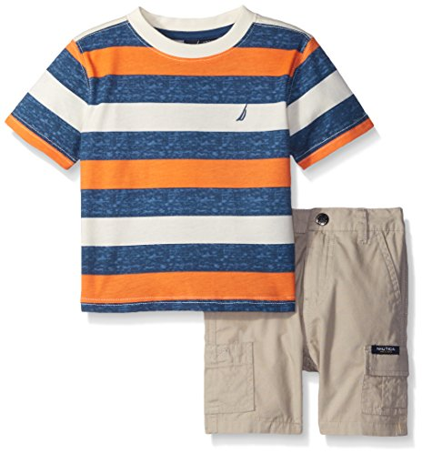 Nautica Baby 2 Piece Bold Stripe Tee Shirt Set, Dark Blue, 6/9 Months
