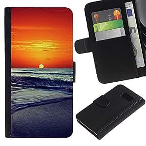 KingStore / Leather Etui en cuir / Samsung Galaxy S6 / Sunset Beautiful Nature 86