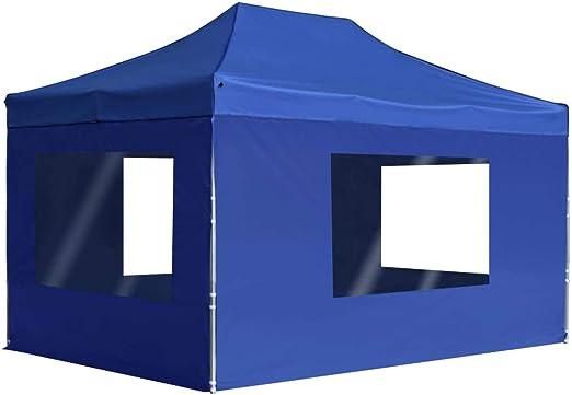 yorten Carpa Plegable para Fiestas con Paredes Profesional Diseño Clásico Estructura de Aluminio 4,5x3 m Azul: Amazon.es: Hogar