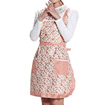 Bib Apron for Women with Pockets Cotton Canvas1 Piece Pack-2 Waist Pockets Long Sleeved one-Piece Reverse Apron