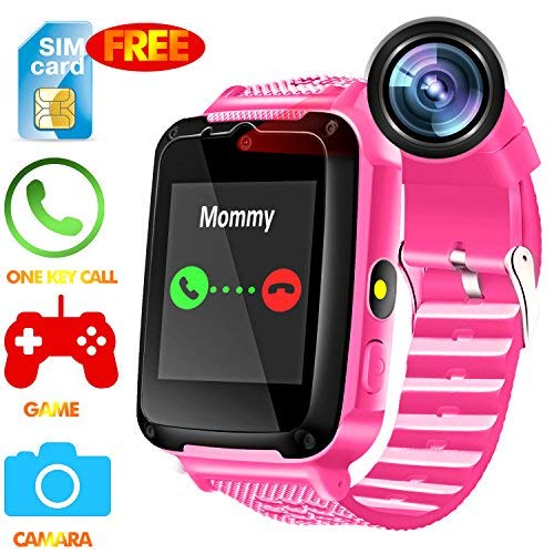 Kids Smart Watch Phone - Kids Smartwatch for 3-14 Year Boys Girls SOS Flashlight Camera Game Touch Screen Digital Wrist Sim Card Slot Cellphone Watch Bracelet for Holiday Birthday Gift -