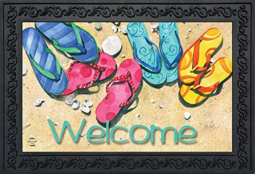 (Briarwood Lane Beachy Flip Flops Summer Doormat Welcome Nautical Indoor Outdoor 18