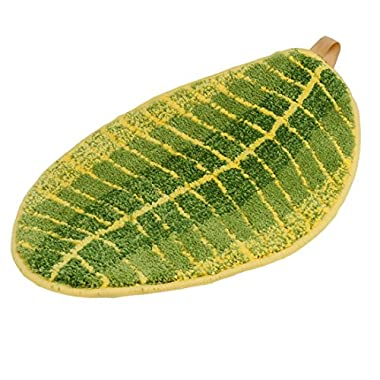 ONEONEY Green Leaf Shaped Oval Bathmat Living Room Carpet Bedroom Rug Washable Rugs Home Decorator Floor Rug and Carpets (15.7 *23.6 )