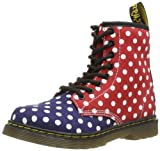 Dr. Martens Girl's Delaney Juniors Print Lace Boot Navy/White/Red Dots Fine Canvas 12 UK