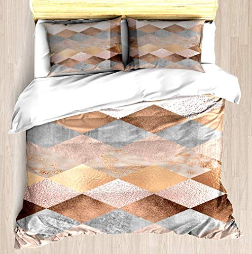 Roses Argyle (ZOMOY Copper and Blush Rose Gold Marble Argyle Duvet Cover Designed Pattern Comforter Bedding Cover Pillow Shams 3 Piece Bed Duvet Cover Queen/Full)