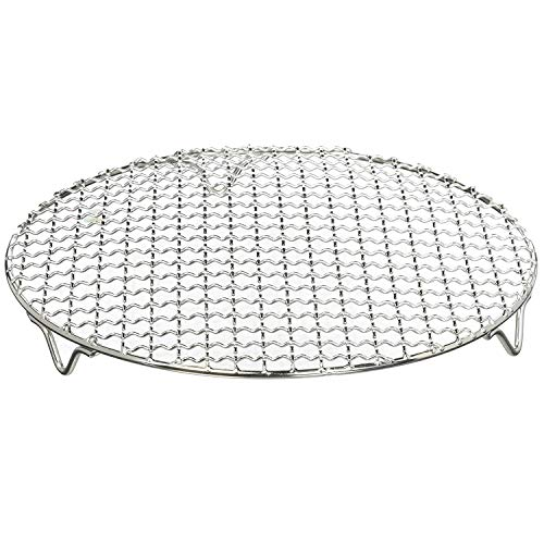 Chris-Wang 1Pack Multi-Purpose Round Stainless Steel Cross Wire Steaming Cooling Barbecue Rack /Carbon Baking Net/Grill /Pan Grate with Legs(12Inch Dia)