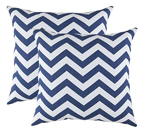TreeWool Decorative Square Throw Pillow Covers Set Chevron Accent 100% Cotton Cushion Cases Pillowcases (18 x 18 Inches / 45 x 45 cm; Navy Blue & White) - Pack of 2