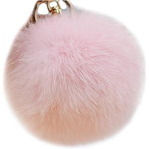 Valpeak 9.5cm Rabbit Fur Ball Pom Pom Keychain Fluffy Fur Keychain for  Women Fur Pom fbbe13ff6de1