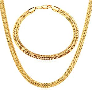 Trendy Gold Plated Wide Necklace Bracelet Women Jewelry Set - Golden color