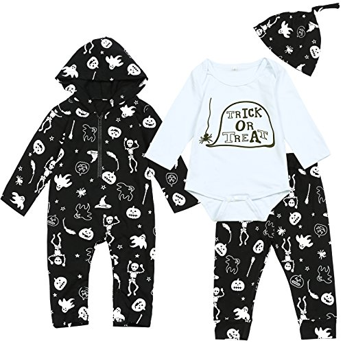 4PCS Baby Boys' Outfit Set Halloween Skeleton Pumpkin Tops Pants With Bodysuit