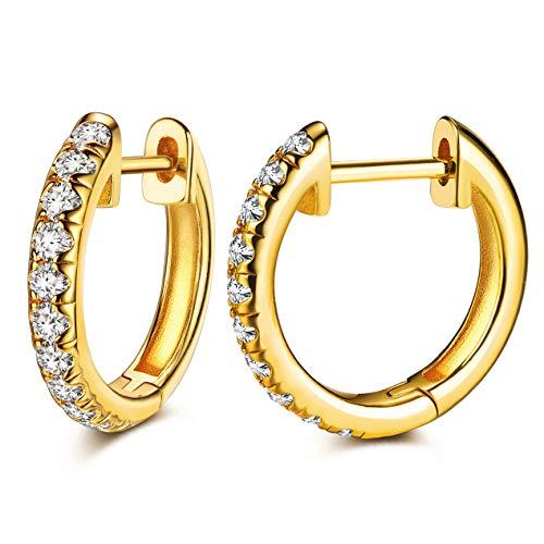 Hoop Earrings 24K Gold Plated Huggie Earrings For Women And Girl (24k Plated Ten CZ)