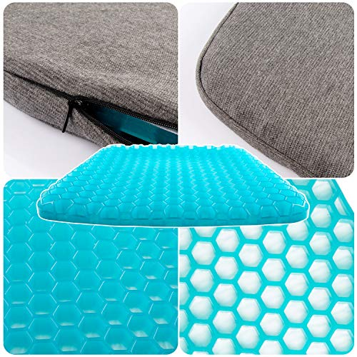 GALYGG Gel Seat Cushion with Non Slip Chair Pad Cover Breathable Honeycomb Prevents Soft Seat Pad Sweaty Bottom for Office Car Wheelchair, Egg Chair Cushion Pain Relieve Fatigue Back, Sciatica, Coccyx by GALYGG (Image #5)