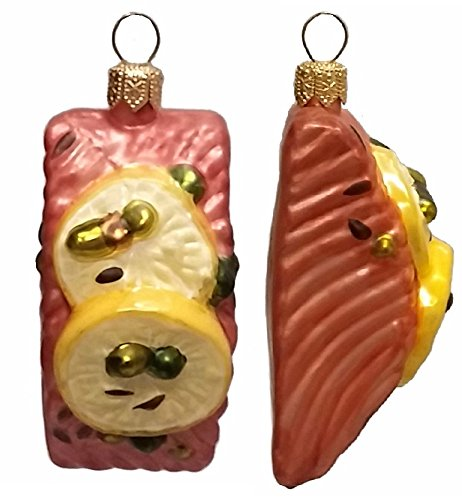 Pinnacle Peak Trading Company Slice of Salmon with Lemon Polish Glass Christmas Ornament Set of 2 Decorations