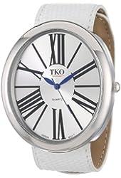 TKO ORLOGI Women's TK617-SWT Leather Silver White Slap Watch