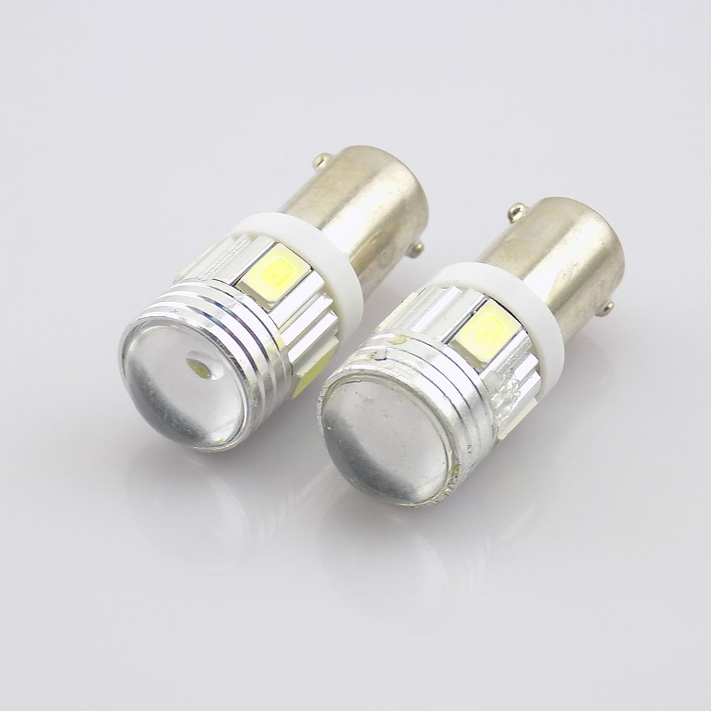 White 6SMD 5630 BA9S 6253 64111 T11 T4W LED Bulbs Map Door Dome Light Projector Lens Bulb Light Pack of 4