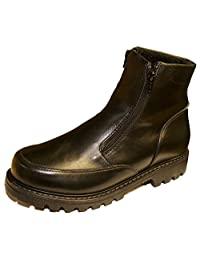 Mens Double Zipper Winter boots with Grip Sole Fleece Lined