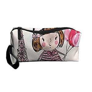 Travel Makeup Paris Is Always A Good Idea Beautiful Pink Girl With Balloon Cosmetic Case Organizer Portable Artist Storage Bag Toiletry Jewelry Pen Holder Stationery Pencil Pouch