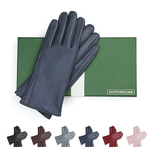 (Downholme Classic Leather Cashmere Lined Gloves for Women (Dark Blue, S))