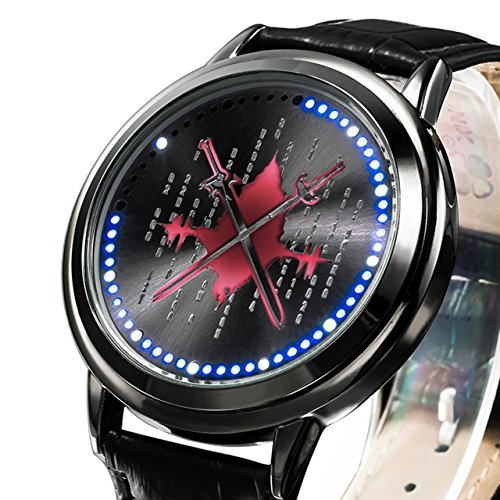 Sword Art Anime Online Led Watch Cool Black Alloy Wrist Watch Cosplay