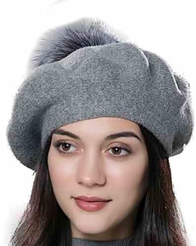 1c63f1b3b784b URSFUR Unisex Winter Hat Womens Knit Wool Beret Cap with Fur Ball Pom Pom