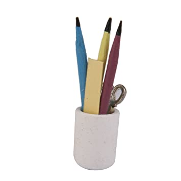 PENCIL HOLDER WITH PENCILS AND RULER DOLL HOUSE MINIATURE