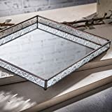 J Devlin Tra 102 Vintage Glass Vanity Tray with Mirrored Bottom and Clear Vintage Sides 10x10x1 1/4