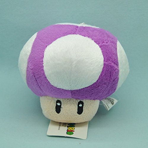 Mario Plush Keychain (Super Mario Bros Toad Mushroom Purple with Keychain 4 Inch Toddler Stuffed Plush Kids Toys)