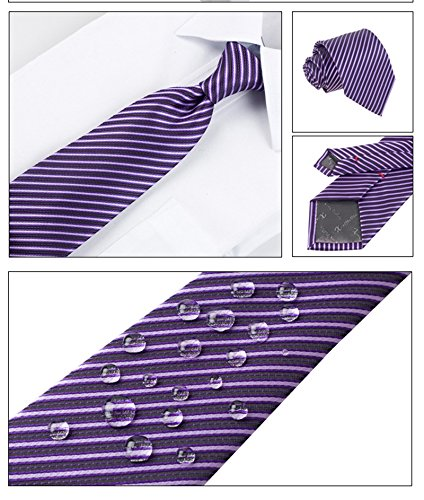 Flying Fish Mens Business Wedding Tie with Cufflinks Pocket and Tie Clip,Striped or Dot Style