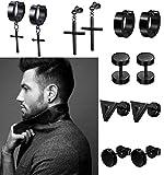 LOLIAS 6 Pairs Black Stud Earrings Hoop Earrings Set for Men Women Stainless Steel Huggie Earrings...
