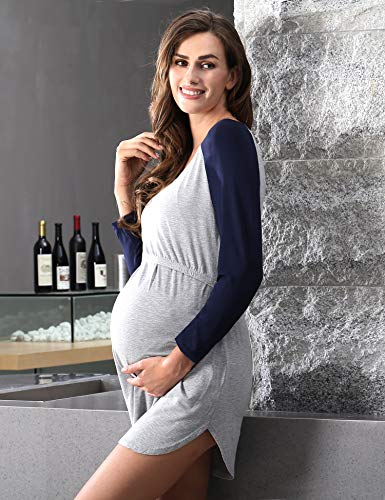 COLORFULLEAF Labor Delivery Nursing Hospital Nightgown Maternity Sleep Dress Shirt