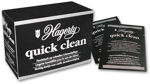 Hagerty Premium Quick Clean Jewelry Wipes for Gold, Silver and Pearls, Pack of 10 Wipes