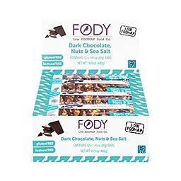 FODY - Low FODMAP Dark Chocolate, Nuts and Sea Salt Snack Bars 40g (1.41oz) (Box of 12)