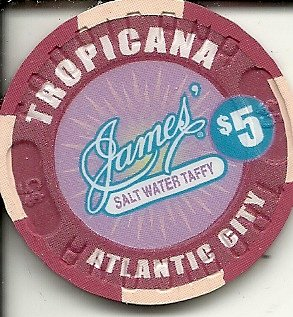 $5 tropicana the market place at the boardwalk atlantic city new jersey casino chip james salt water taffy (James Salt Water Taffy)
