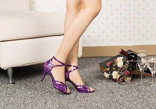 Miyoopark Womens Peep Toe Cinturino Alla Caviglia Scarpe Da Ballo Tango Latino Sandali Tacco A Spillo Viola-8.5cm Tacco