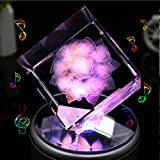 LIWUYOU Valentines Day Gift Rotating Musical Box Square Crystal 3D Rose Flower Colorful LED Light , Rose, Music Base