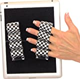 LAZY-HANDS Heavy-Duty 4-Loop Grips (x2 Grips) for Tablets - FITS MOST (Black)