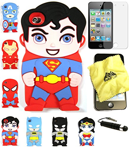 Bukit Cell 3D Superhero Case Bundle 4 Items: Superman Cute Justice League Soft Silicone Case for Ipod Touch 4 4g 4th Generation + Cleaning Cloth + Screen Protector + Metallic Stylus Touch Pen