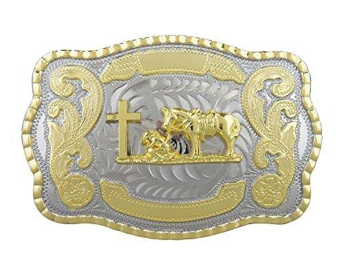 (RIDE AWAY Christian Praying Cowboy Prayer Cross Horse Belt Buckle (Large))