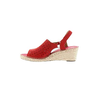 65cda172c1f CLARKS Artisan Leather Espadrille Wedge Sandals Petrina Gail Red 11W New  A288200