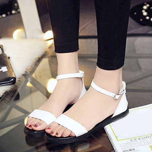 Women Ladies Sandals Comfortable Transer® Shoes Flat Casual White Roman Slippers Summer Sandals qatxfwx