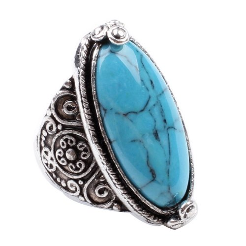 CA Charming Blue Synthetic-Turquoise Tibet Silver Plated Fashion Ring Size 9 (Blue Turquoise Agate)