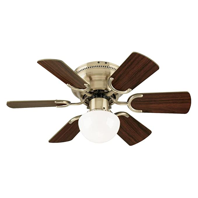Westinghouse 7215800 Petite Single Light 30 Inch Reversible Six Blade Indoor Ceiling Fan Antique Brass With Opal Mushroom Glass Com
