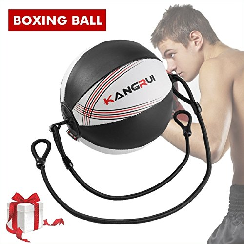 SGODDE Boxing Double End Ball Bag, Leather Speed Training Ball, Speed Punching Bags Floor to Ceiling Rope for Adulats & Kids MMA Boxing Sports Workout Training Gym Exercise by SGODDE
