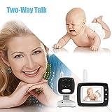 Aurola Baby Monitor with 3.5' LCD Screen, Digital Camera, Infrared Night Vision, Two-Way Talk Back, Lullabies, Long Range, Temperature Monitoring, and High Capacity Battery, Black