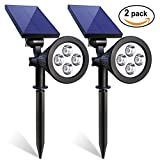 Iextreme Solar Spotlights, 4 LED Waterproof Solar Spotlight 180 °Adjustable Wall Light, 2-in-1 Security Lighting, Auto On/Off Landscape Lights for Gardens Patio Deck Yard Driveway Pool Area(2 Pack)