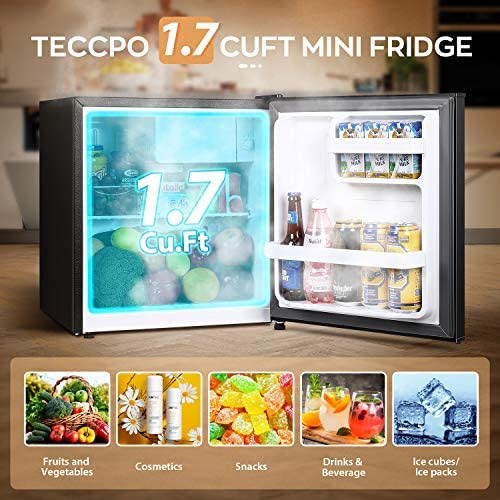 TECCPO Mini Fridge, 1.7 Cu.Ft Freezer Fridge, Energy Star, Auto Defrost, Dorm Refrigerator, 37dB, 6 Adjustable Thermostat Control, Mini Fridge for Bedroom, Dorm, Office, Apartment, Black-TAMF30