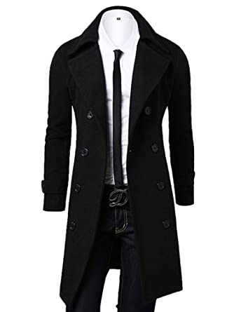 f73a6a3ec OCHENTA Men's Double Breasted Turn Down Collar Slim Woolen Overcoat Black  Asian M - US XS