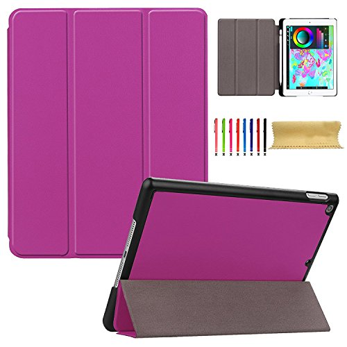 iPad 2017 2018 Case 9.7 Inch, Cookk Ultra Slim Lightweight Case with Pencil Holder Trifold Smart Cover with Auto Sleep/Wake Feature Fitted Cover for Apple iPad 5th/6th Gen 2017/2018 9.7'', Purple by Cookk